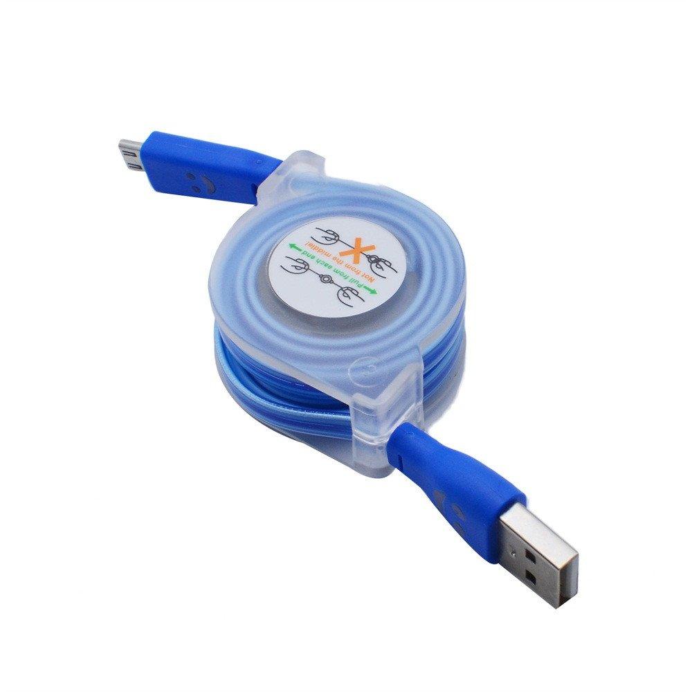 Noir C/âble LED r/étractable USB Multicolor r/étractable Plat Micro USB Chargeur de synchronisation de donn/ées C/âble Cordon pour t/él/éphones Android
