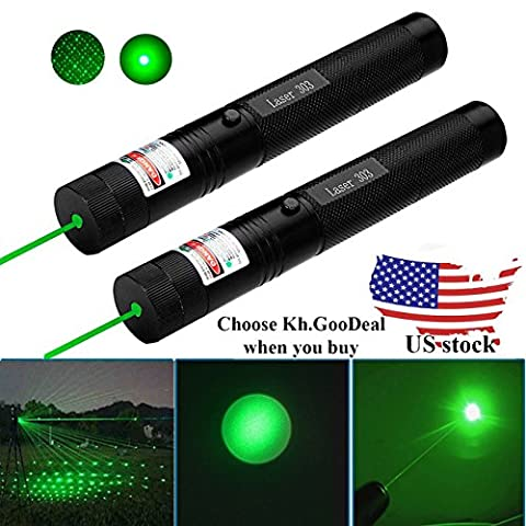 2 PC GD-303 Type Laser Torch Style Focusable High Power 532nm Green Beam Laser Pointer Lazer Projector Pen by (Laser Pointer Green Focus)