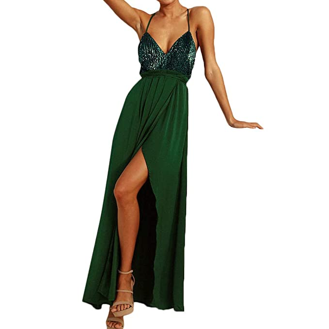 369387920233 kemilove Women Sexy Solid Sequin V-Neck Sleeveless Split Backless Bandage  Long Maxi Dress Green