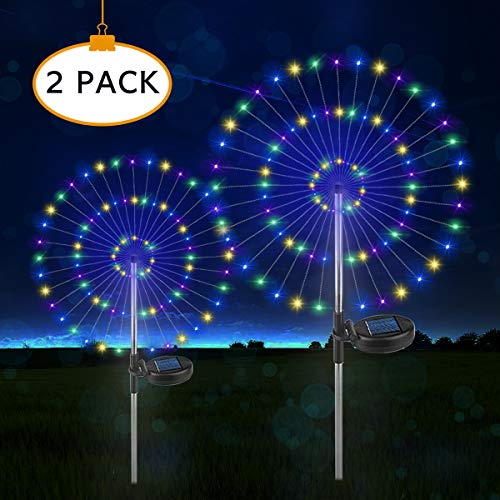 (Outdoor Solar Garden Decorative Lights, DIY Flowers Fireworks Light, 105 LED Powered 35 Copper Wires String Landscape Light for Walkway Pathway Backyard Christmas Party Decor(Multi-Color, 2 Pack))