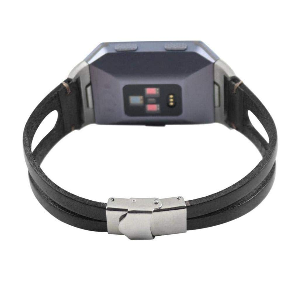 Fashion Clearance! Noopvan Fitbit Ionic Strap,Adjustable Soft Leather Replacement Sport Band Bracelet for Fitbit Ionic Smart Fitness Watch (Black)