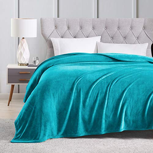 EXQ Home Fleece Blanket King Size Teal Throw Blanket for Bed or Couch - Super Soft Microfiber Fuzzy Flannel Blanket for Adults or Pet (Lightweight,Non Shedding) ()