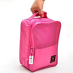 Simmer Stone Portable Waterproof Travel Shoe Tote Bag/case/organizer,hold 3 Pairs of Shoes,perfect for Travel/ Business Trip/ourdoor Sport (Peach Red)