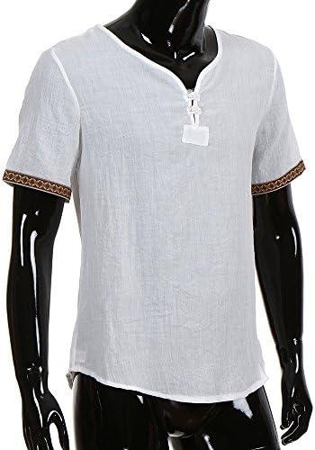 Estate Elegante Maglietta a Manica Corta Spiaggia Regular Fit Uomo Colore Puro Classico Lavoro Shirts M-XXXXXL Modaworld Uomo Camicia in Lino Taglie Forti