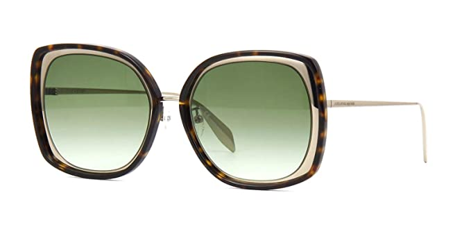 5b6adbd0d07 Alexander McQueen AM0151S 005 Sunglasses Havana Gold Frame Green Gradient   Amazon.co.uk  Clothing