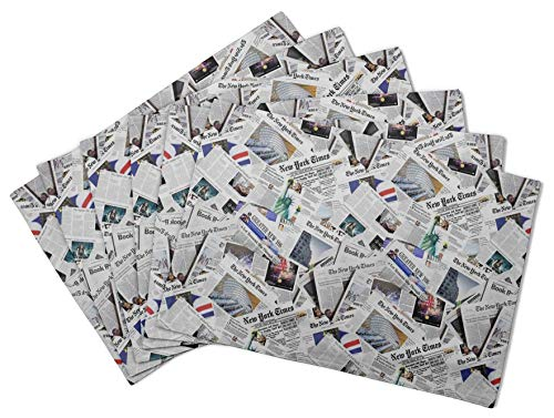S4Sassy White Newspaper Mix Printed Reversible Fabric Placemats Table Dining Mats-12 x 18 Inches-6 Pcs