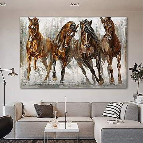 QWESFX Arte Acuarela Caballo Cuadro Animal Lienzo Pintura Modren Decoración para el hogar Imagen de arte de pared para sala de estar Dormitorio (Imprimir sin marco) D 60x90CM