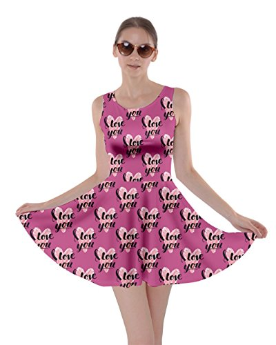 I Womens Cute Love Hearts Love CowCow 5XL Violet Day Skater You XS Pink Valentines Dress PwHHdgq