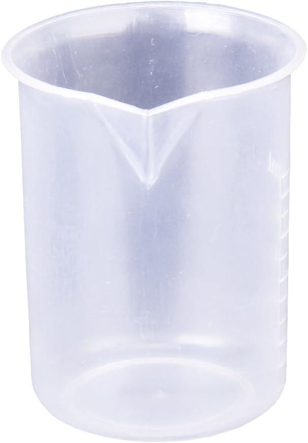 Gobelet en Plastique Blanc Godet Gradu/é en Plastique Transparent pour Test en Laboratoire 2 Pi/èces R/écipient Gradu/é Transparent 50 ml pour Laboratoire et Cuisine