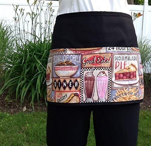 (Waitress or Server 3 Pocket Half Apron, Check out 300 more aprons @ (handmade Janet Apron) restaurant cooking kitchen cute Diner & Burgers Food waiter waist design black)