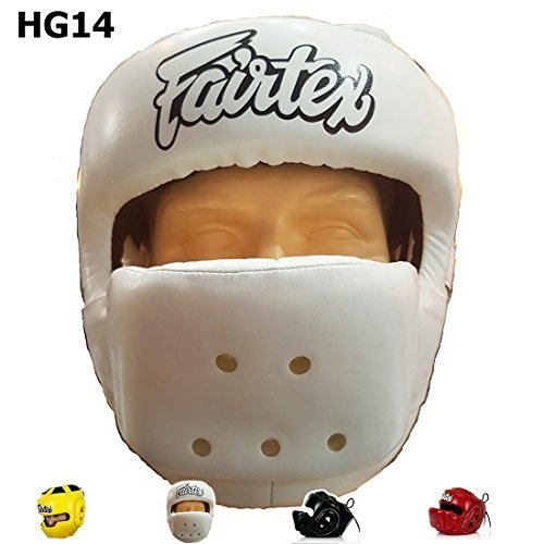 Bangplee_Sport Fairtex HG14 Full Face Head Guard - Protective Gear for Boxing, Kick Boxing, Muay Thai MMA (Red, M)