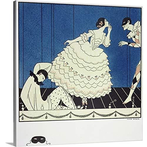 GREATBIGCANVAS Gallery-Wrapped Canvas Entitled Tamara Karsavina as Columbine, Vaslav Nijinsky as Harlequin and Adolph Bolm as Pierrot by Georges Barbier ()
