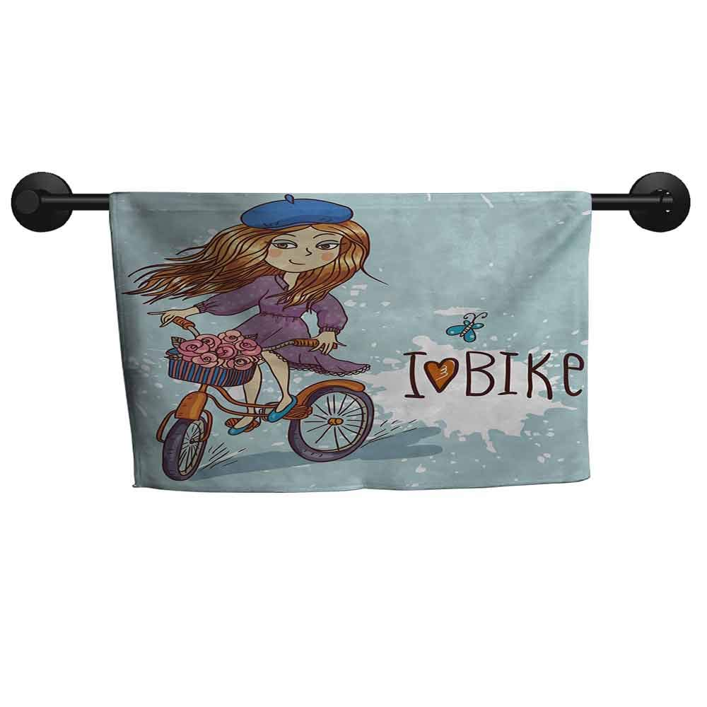 SONGDAYONE Absorbent Towel Kids Cartoon Girl Image with French Hat and a Bike with Flowers Children Image Easy to Care Purple Grey and White,W28 x L55