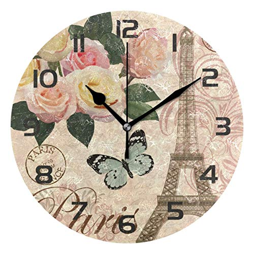 Infinity Eiffel Tower Wall Clock - Dozili Romantic Paris Eiffel Tower Decorative Wooden Round Wall Clock Arabic Numerals Design Non Ticking Wall Clock Large for Bedrooms, Living Room, Bathroom