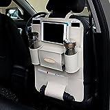 2 Packs PU Leather Car Backseat Organizer ,MLOVESIE Travel Storage Protectors for Kids Toys Bottles Cellphone IPad Tablet Tissue Box Umbrella