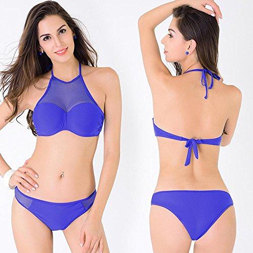 Mujeres Lace / Hollow Bikini Tops Bajo de la cintura Triángulo Bottom Slipt / 2 Piece Swimsuit Beachwear Blue