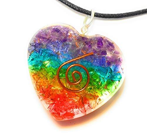 Opulence Heart Shaped 7 Chakras Meditation Pendant and Necklace (Necklace Jasper Fabric)