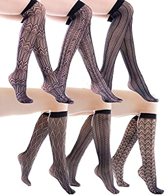Felicity Womens Knee High Fishnet Patterned Trouser Socks Dress Socks