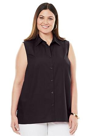 254ec8f99f4f5 Jessica London Women s Plus Size Sleeveless Poplin Blouse at Amazon ...