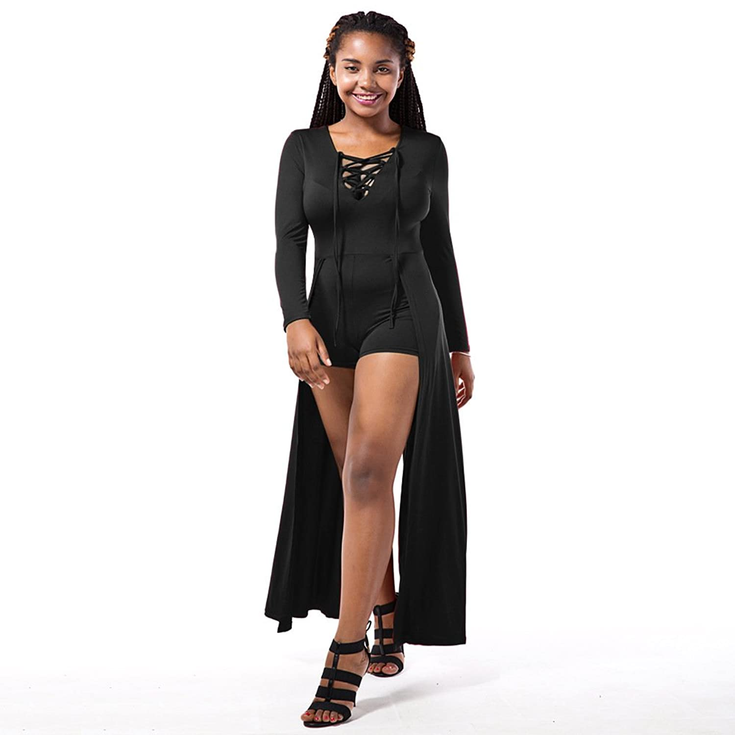 Women's Lace-up Neck Long Sleeve Cloak Rompers