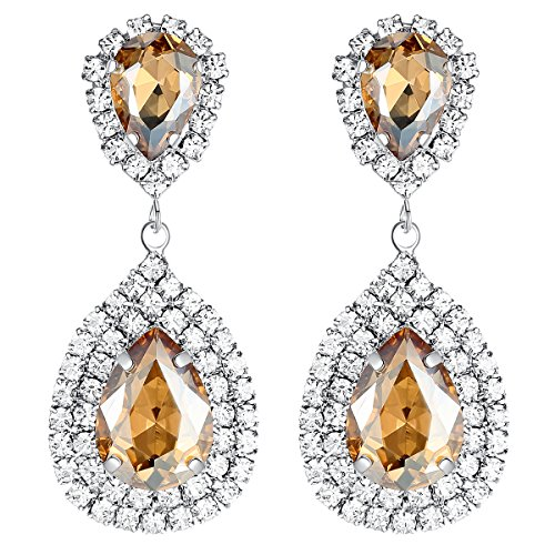 - mecresh Gold Teardrop Austrian Crystal Bridal Dangle Earring