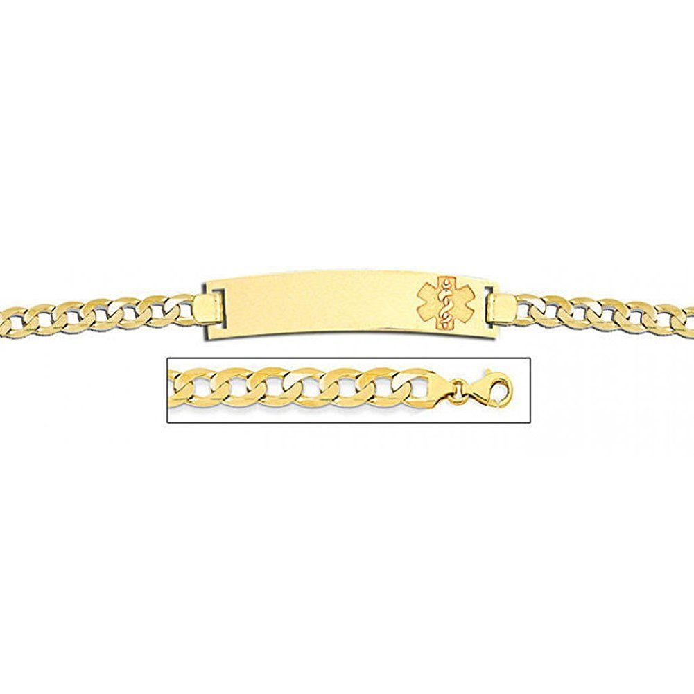 PicturesOnGold.com 14K Gold Medical ID Bracelet W/Curb Chain - 7-1/2 Inch WITH ENGRAVING