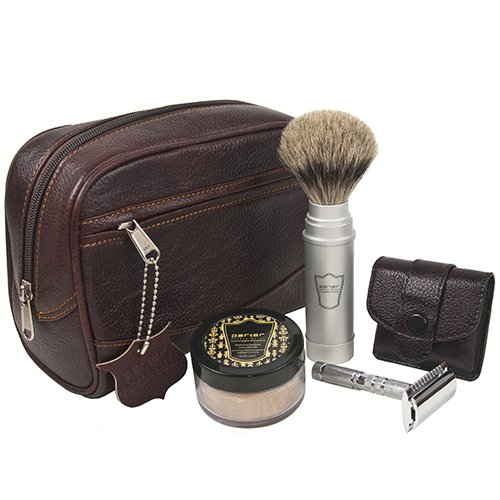 Parker Travel Shave Kit - Includes Parker Safety Razor's Dopp Bag, Travel Safety Razor, Travel Shave Brush and Travel Shave (Travel Shaving Kit)