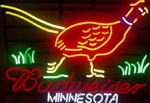 Desung New 24''x20'' Minnesota Pheasant Hunter Budweisers Neon Sign Man Cave Bar Pub Beer Neon Lamp Real Glass Neon Light DX114