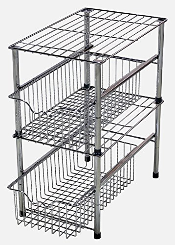 DecoBros Stackable Under Sink Cabinet Sliding Basket Organizer Drawer,Chrome