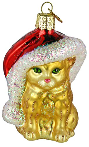 Old World Christmas Ornaments: Santa's Kitten Glass Blown Ornaments for Christmas Tree