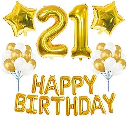 Amazon.com: 21st BIRTHDAY - Kit de decoración para fiesta de ...