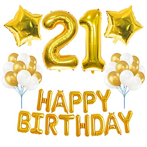 21st BIRTHDAY DECORATIONS PARTY KIT, Aiernuo Happy Birthday Balloon Banner Number 21 Balloon Mylar Foil Gold White Latex Ballon Perfect 21 Year Old Party Supplies Free Birthday Candle Set (21st Balloons And Banners)
