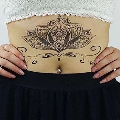 lijinjin Pecho Flash Tattoo Grande Negro Flor Mágica Esternón ...