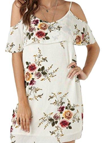 Shoulder Print Tunic 4 Womens Cold Floral Jaycargogo Casual Dress Summer w1tXqx1U0