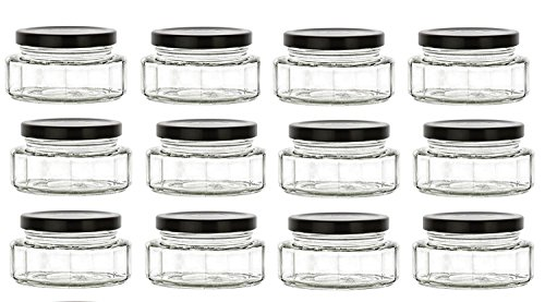 Nakpunar 6 oz Beveled Glass Jars with Lids for Jam, Honey, W