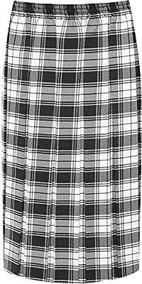 WearAll Women's Plus Pleated Elasticated Below Knee Tartan Checked Print Skirt