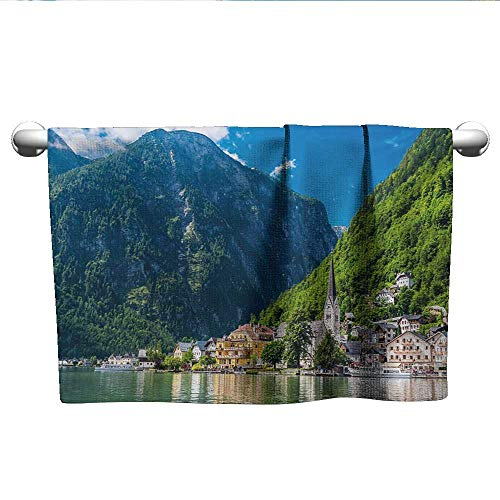 (Landscape,Hair Towels for BoysNatural View of Hallstatt in Austria Mountains Forest Town Houses Clear Sky Absorbent Towel Green Blue White W 35