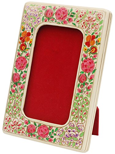 BEST PRICE - SouvNear Photo Frame 3x5 Inch (7x12 cm) - Hand Painted Paper Mache and Wood Picture Frame - Rectangular Red & White Floral Motifs - Handmade Kashmiri Art from India