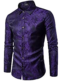 Men's Long Sleeve Printed Silk Dress Shirt Dance Prom Party Button Down Fashion Shirts