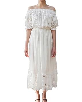 Mujeres Casual Playa Elegante Vestido Largo Boho Partido Fiesta Boda Vestidos Maxi Largos Blanco S