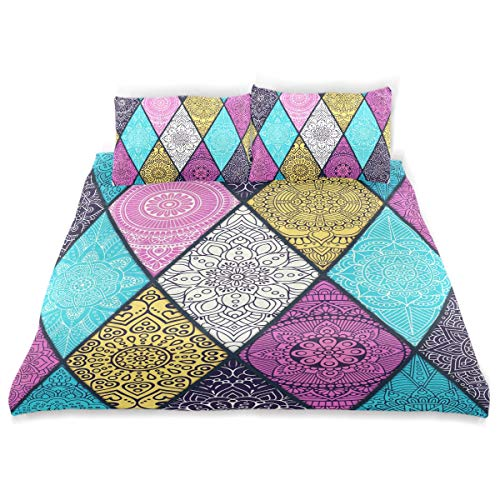 Vipsa Parure de lit 3 pièces Style National 100% Coton avec Fermeture éclair Bio Moderne Parure de lit Full Queen