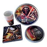 Star Wars VII Birthday Party Supplies Bundle Pack Serving 8 - 4 Items - 1 Pack of 8 Lunch Plates, 1 Pack of Dessert Plates, 1 Pack of 16 Napkins, 1 Pack of 8 Cups