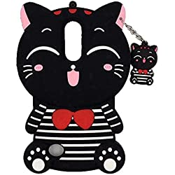 Mosun 3D Kitty Lucky Fortuna Diseño de Gato Bolsa de teléfono de Goma Suave Funda, LG Stylus 3, Strip 3D Kitty -Black