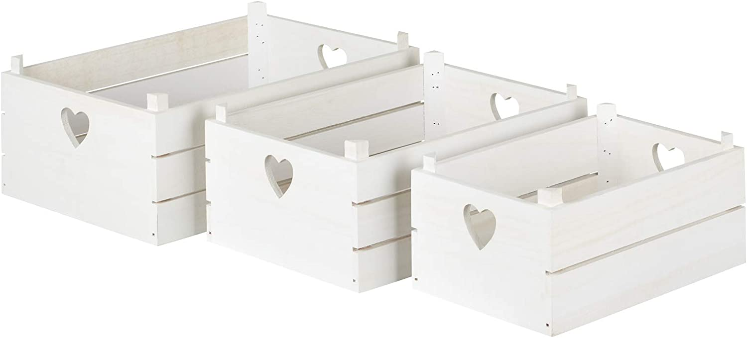 Hartleys Set of 3 Shabby Chic Storage Crates Choice of Colour