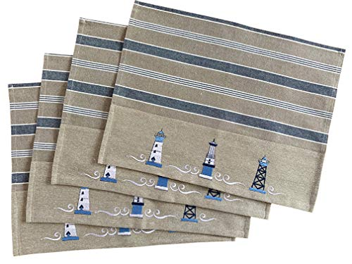 Nautical Placemats - Set of 4 -- Cotton Decorative Embroidered Design - Natural, Navy Blue and White (Lighthouse)
