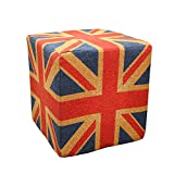 Square Union Jack Pouf Stuffed with Styrofoam Cube and Foam layers, Firm and Soft to sit - 40 x 40 x 40 (cm)