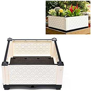 Mehousa Raised Vegetable Garden Bed Kit w/ Drainer System | 100% Weather-Resistant Plastic | Easy-Maintenance Outdoor Elevated Planter Box for Beginners (Black & White)