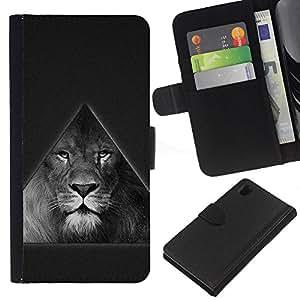 KingStore / Leather Etui en cuir / Sony Xperia Z1 L39 / Triángulo Majestic Lion B & W
