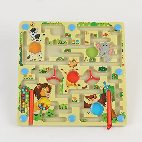 Wooden Happy Zoo Magnetic Maze Puzzle Interactive maze Magnet Beads Maze on Board Game Eduactional Handcraft Toys-Square + flying Flight chess Modern Ludo on the other side (Flying Magnet)