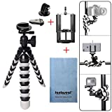 Fantaseal DSLR Camera + Action Cam + Smartphone Robust Octopus Tripod 3-in-1 Flexible Gorillapod for iPhone Samsung + Canon Nikon Camera/Comcorder+ GoPro Hero 5 / 4 / Hero 3+ / GoPro Hero / GoPro Hero+LCD / TomTom Bandit / Sony AS300R / X3000R / Nikon KeyMission 360 / KeyMission 170 / KeyMission 80 / Kodak SP360 / Samsung Gear 360 / Olympus Stylus Tough TG-Tracker / Drift GHOST-S / Stealth 2 / R